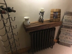 Oak mantel beam to cover a radiator